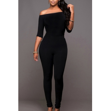 Contracted Style Strapless Half Sleeves Black Qmilch One-piece Skinny Jumpsuits