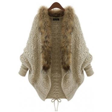 Trendy Long Sleeves Fur Design Khaki Polyester Sweater