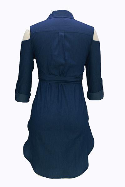 mangas longas sexy de abertura de cama colarinho assimétricas camisas azul denim
