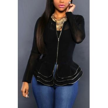 sexy cuello redondo mangas largas del diseño del falbala capas de poliéster negro