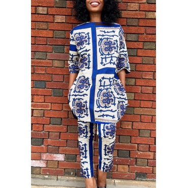 Stylish Round Neck 3/4 Sleeves Blue And White Porcelain Printing Healthy Fabric Two-piece Pants Set