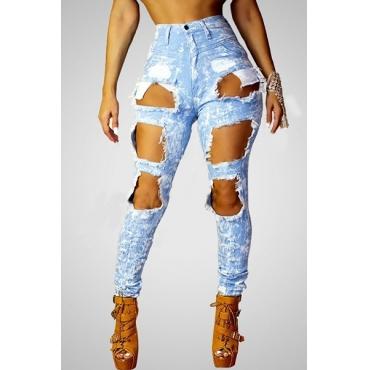 стильные высокой талии разбитые отверстия синие джинсовые брюки