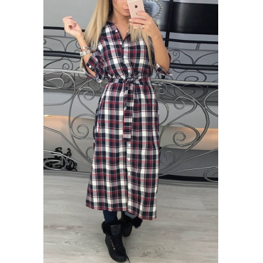 Stylish Turndown Collar Long Sleeves Plaids Red Polyester  Mid Calf Dress