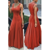 Fashion Boat Neck Sleeveless Ruched Orange Cotton Floor length Dress