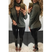 Trendy Round Neck Long Sleeves Hollow-out Army Green Polyester Blouses