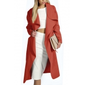 Trendy Turndown Collar Long Sleeves Lace-up Red Polyester Long Wool Coat