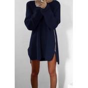Stylish Round Neck Long Sleeves Zipper Design Navy Blue Acrylic Sweater