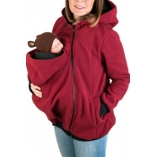 Leisure Hooded Long Sleeves Patchwork Red Cotton Hoodies