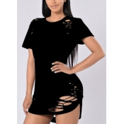 Leisure Round Neck Short Sleeves Hollow-out Black Qmilch T-shirt