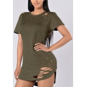 Leisure Round Neck Short Sleeves Hollow-out Army Green Qmilch T-shirt