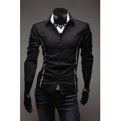 Stylish Turndown Collar Long Sleeves Patchwork Black Cotton Blends Shirt