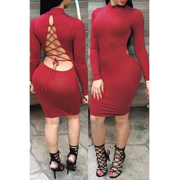 Sexy Mandarin Collar Long Sleeves Back Lace-up Hollow-out Red Cotton Blend Sheath Knee Length Dress