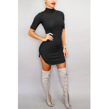 Euramerican Round Neck Half Sleeves Zipper Design Black Cotton Sheath Mini Dress