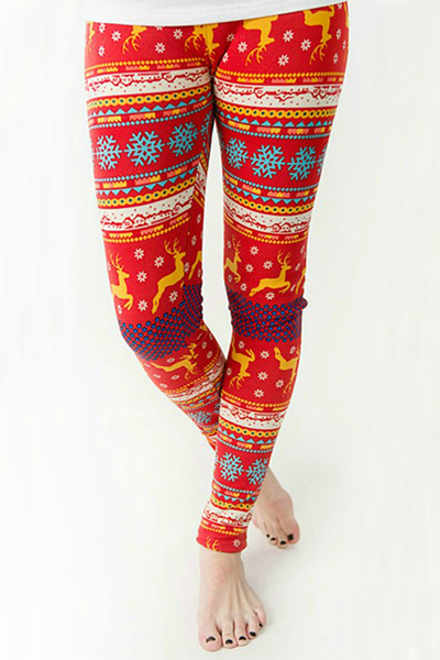 tendenza alce elastico in vita + fiocco di neve leggings Pleuche rosso stampati