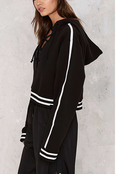 Leisure Hooded Collar Long Sleeves Lace-up Hollow-out Black Cotton Hoodies