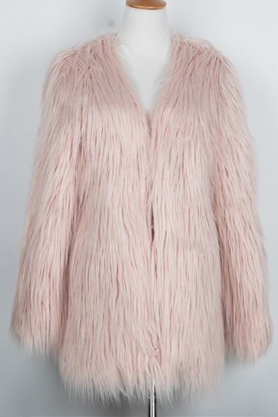 Euramerican Round Neck Long Sleeves Flesh Pink Faux Fur Coat