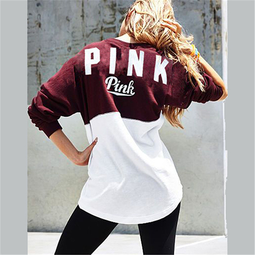 Leisure Round Neck Long Sleeves Patchwork Red Cotton Pullovers