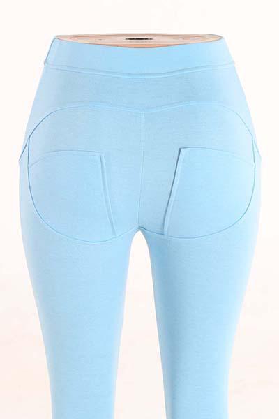 стильный середины талии полиэстер лоскутные синий полиэстер лосины