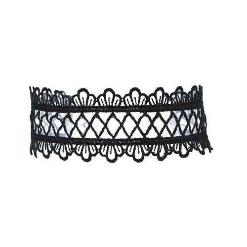 Euramerican Bud Silk Patchwork Black Choker