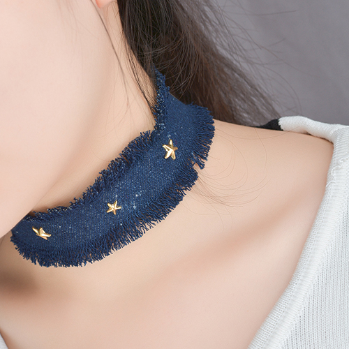 Fashion Five-pointed Star Decorative Dark Blue Fabric Choker