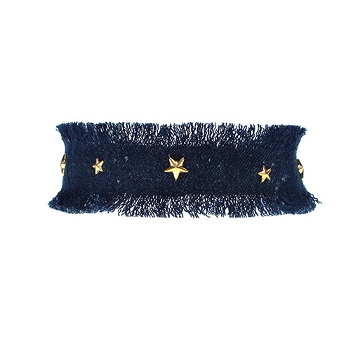 Fashion Five-pointed Star Decorative Dark Blue Fabric Choker