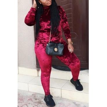 Casual cuello redondo mangas largas de vino terciopelo rojo de dos piezas pantalones conjunto