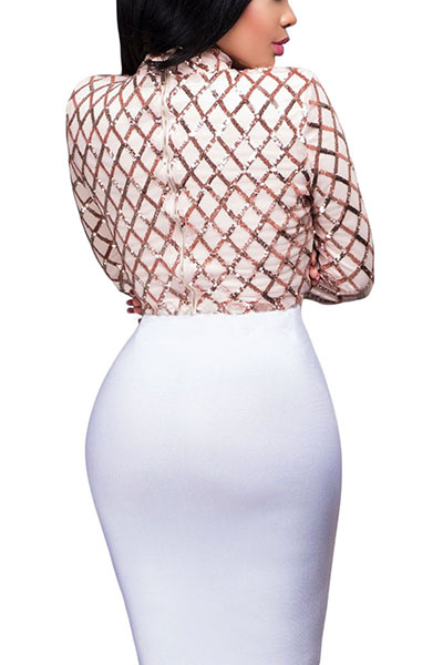 Sexy Round Neck Long Sleeves Sequined Decorative Pink Polyester Blouse