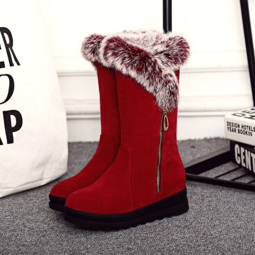 Stylish Round Toe Cremallera Diseño Low Heel Red Suede Snow Boots