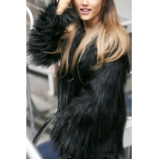 Trendy Long Sleeves Black Faux Fur Coat