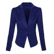 Euramerican Turndown Collar Long Sleeves Single-breasted Design Blue Blending Suit