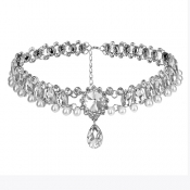 Fashion Rhinestone Decorative White Crystal Choker