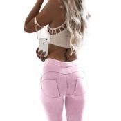 Stylish Mid Waist Polyester Patchwork Pink Polyest
