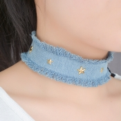 Fashion Five-pointed Star Decorative Light Blue Fabric Choker