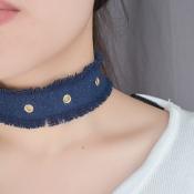 Fashion Metal Holes Decorative Dark Blue Fabric Choker