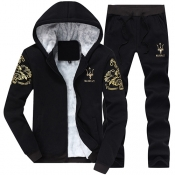 Leisure Hooded Collar Long Sleeves Embroidery Black Cotton Two-piece Pants Set