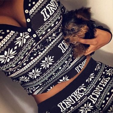 Leisure V Neck Long Sleeves Printed Black Polyester Two-piece Pants Set