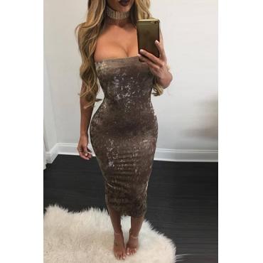 Charming Dew Shoulder Sleeveless Grey Velvet Sheath Knee Length Dress