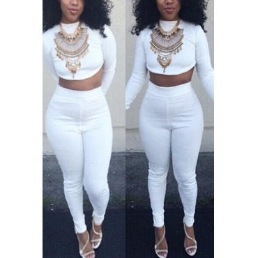 Stylish Mandarin Collar Long Sleeves White Healthy Fabric Two-piece Pants Set(Without Accessories)