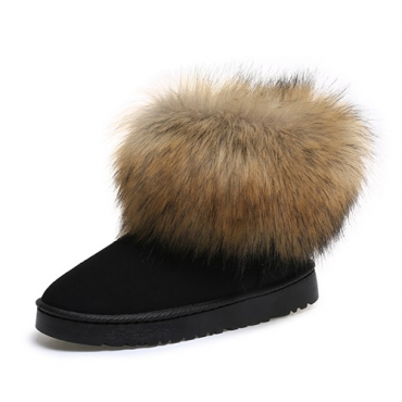 Trendy Round Toe Fur Design Flat Low Heel Black Suede Short Snow Boots