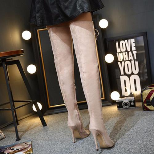 Moda rodada peep toe lace-up oca-out stiletto super salto alto damasco camurça sobre as botas de joelho