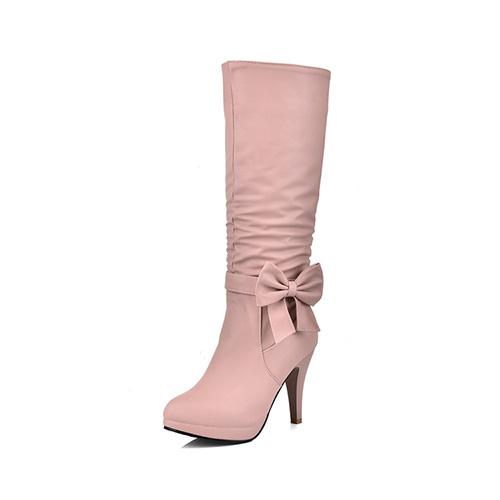 Diseño redondo elegante de la cremallera del dedo del pie + estilete decorativo del estilete alto estupendo del talón PU rosado medios cargadores del becerro