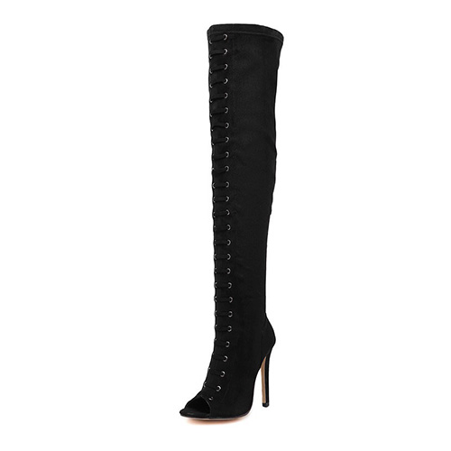 Stylish Round Peep Toe Stiletto Super High Heel Black Suede Boots
