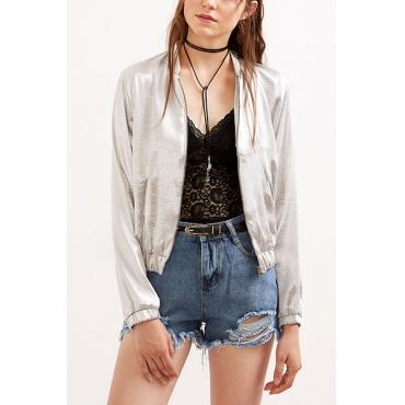Leisure Round Neck Long Sleeves Zipper Design Silver Cotton Coat