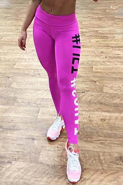 Casual alta cintura letras impresas rosa polainas de algodón rojo