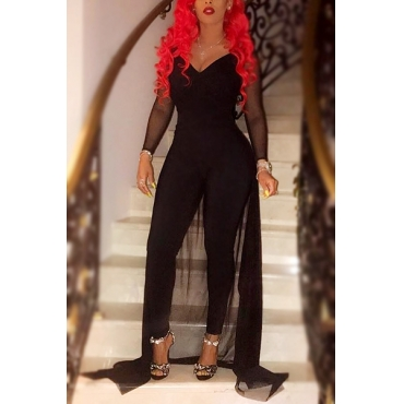 Trendy V Neck Long Sleeves Gauze Patchwork Black Qmilch One-piece Skinny Jumpsuits