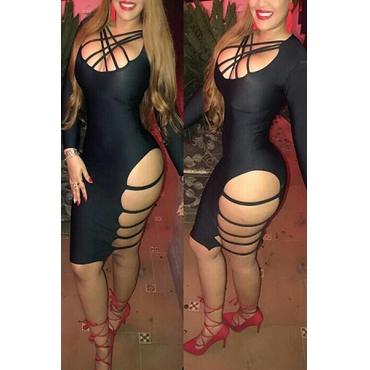 Sexy mangas largas ahuecada hacia fuera de satén negro satinado vestido de la longitud de la rodilla vaina