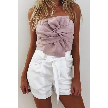 Charming Strapless Knot Design Pink Suede Tank Top