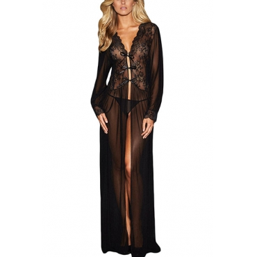 Sexy V Neck Long Sleeves See-Through Black Polyester Extended Nightgown(Include Briefs)