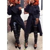 Trendy Turndown Collar Long Sleeves Lace-up Black Polyester Long Wool Coat