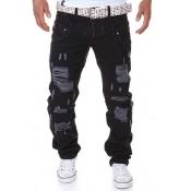 Euramerican Mid Waist Broken Holes Black Cotton Pants